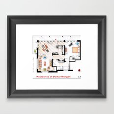 Floorplan of Dexter Morgan's Apartment v.1 Framed Art Print
