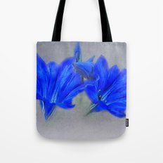 Painted Blue Gentians Floral Tote Bag