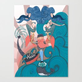 Nautical Strong Man and Sirens of the Sea Canvas Print
