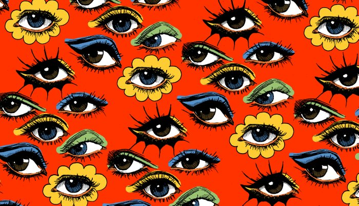 60s Eye Pattern Pillow Sham