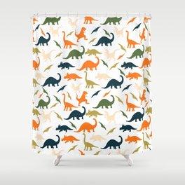 Dinos in Pastel Green and Orange Shower Curtain