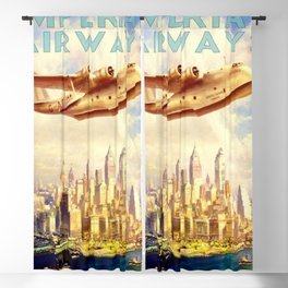 Vintage Imperial Airways New York City Advertisement Art Travel Poster Blackout Curtain