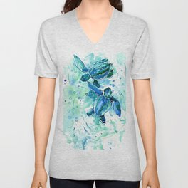 Turquoise Blue Sea Turtles in Ocean Unisex V-Neck