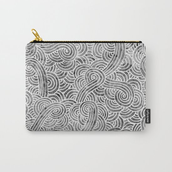 Grey and white swirls doodles Carry-All Pouch