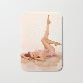 """Kicking Back"" - The Playful Pinup - Sexy Pin-up Girl on Fur Rug by Maxwell H. Johnson Bath Mat"