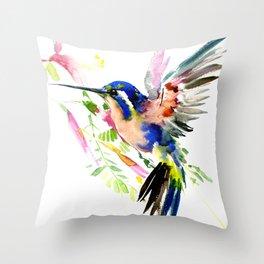 Hummingbird, bird, flying bird design decor blue peach colors Throw Pillow