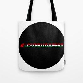 Hashtag Love Budapest, circle, black Tote Bag