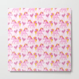 Watercolor Pink Unicorns Pattern Metal Print