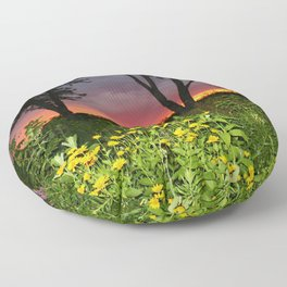 Sunset Over a Wildflower Field Floor Pillow