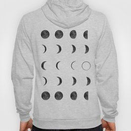 Moon Phases, Black White Decor, Bohemian, Magic, Lunar Cycle Hoody