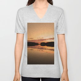 Beautiful sunset - glowing orange - forest silhouette and reflection Unisex V-Neck