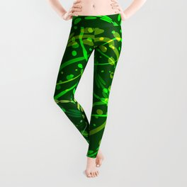 Natural curls and circles of bright green shades on a green background. Leggings