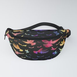 Colorful bird pattern black Fanny Pack
