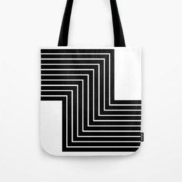 Abstract Black Line Print Tote Bag