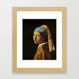 Girl with a Pearl Earring old painting Framed Art Print