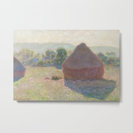 Haystacks, Midday by Claude Monet Metal Print