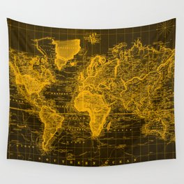 Vintage Map of The World (1833) Black & Orange Wall Tapestry