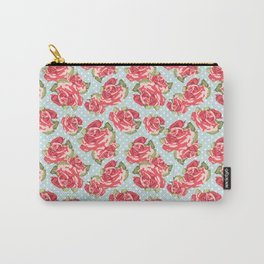 English Roses Blue Polka Dots Carry-All Pouch
