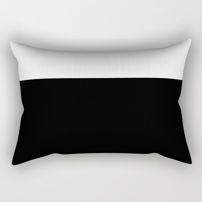 Color Block-Black and White Rectangular Pillow