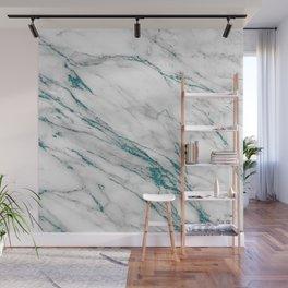 Gray Marble Aqua Teal Metallic Glitter Foil Style Wall Mural