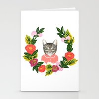 leah flores Stationery Cards featuring Scout con Flores by Leah Romero