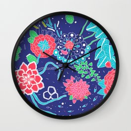 Flowers and Cactus Wall Clock