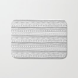 Hand Drawn Black and White Pattern Bath Mat