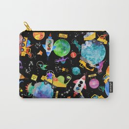 Watercolor Dinosaur Space Construction Carry-All Pouch