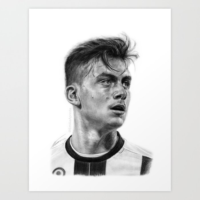 Paulo dybala pencil drawing art print