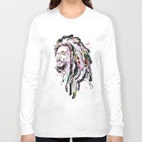 marley Long Sleeve T-shirts featuring B Marley Portrait  by Alina N