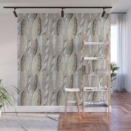 Beautiful graphic bird feathers black white Wall Mural