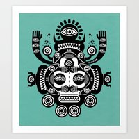 tatoo Art Prints featuring Râ Tatoo by Exit Man