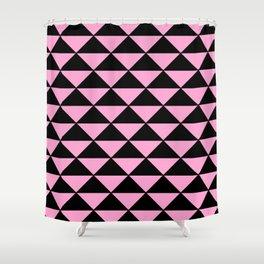 Graphic Geometric Pattern Minimal 2 Tone Infinity Triangles (Pastel Pink & Black) Shower Curtain