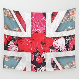 God save the Queen | Elegant girly red floral & lace Union Jack Wall Tapestry