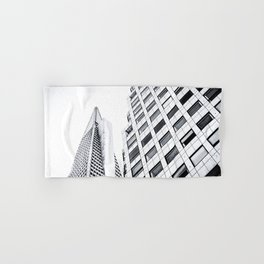 pyramid building and modern building at San Francisco, USA in black and white Hand & Bath Towel