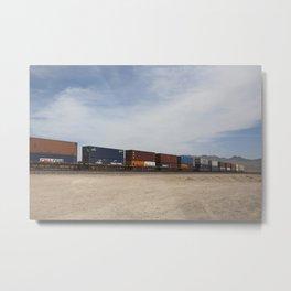 Vidal Train Crossing Blue Metal Print