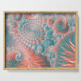 Abstract Living Coral Reef Nautilus Pastel Teal Blue Orange Spiral Swirl Pattern Fractal Fine Art Serving Tray