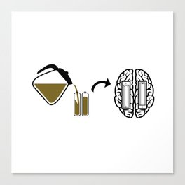 My brain runs on coffee Canvas Print