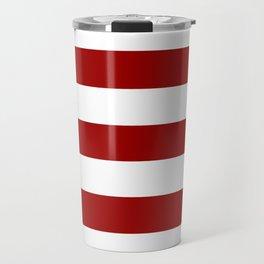 Crimson red - solid color - white stripes pattern Travel Mug