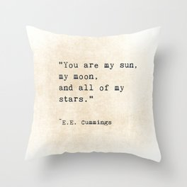 EE Cummings, Sun Moon Stars Quote, Love Throw Pillow