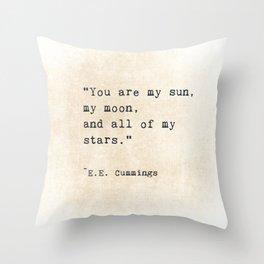 EE Cummings, Sun Moon Stars Quote, Love Throw Pillow