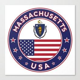 Massachusetts, Massachusetts t-shirt, Massachusetts sticker, circle, Massachusetts flag, white bg Canvas Print