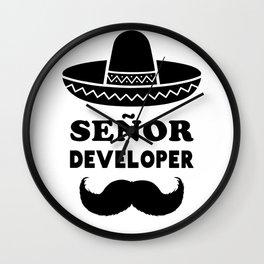 Señor Developer (Senior Developer) Black Print Wall Clock