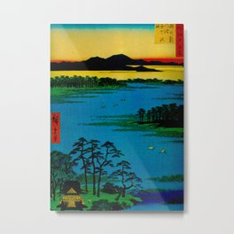 Hiroshige, Sunset Contemplative Landscape Metal Print