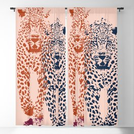 Kitten Club - Navy, Orange & Purple Leopard Print by Kristen Baker Blackout Curtain