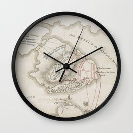 Vintage Battle of Bunker Hill Map (1775) Wall Clock