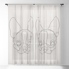 One Line Chihuahua Sheer Curtain