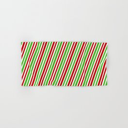 Festive, Christmas-Inspired Red, White, and Green Colored Stripes/Lines Pattern Hand & Bath Towel