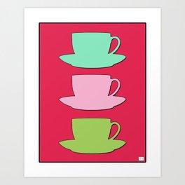 Retro Coffee Print - Retro Colors on Raspberry Sorbet Background Art Print