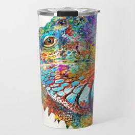Colorful Iguana Art - One Cool Dude - Sharon Cummings Travel Mug